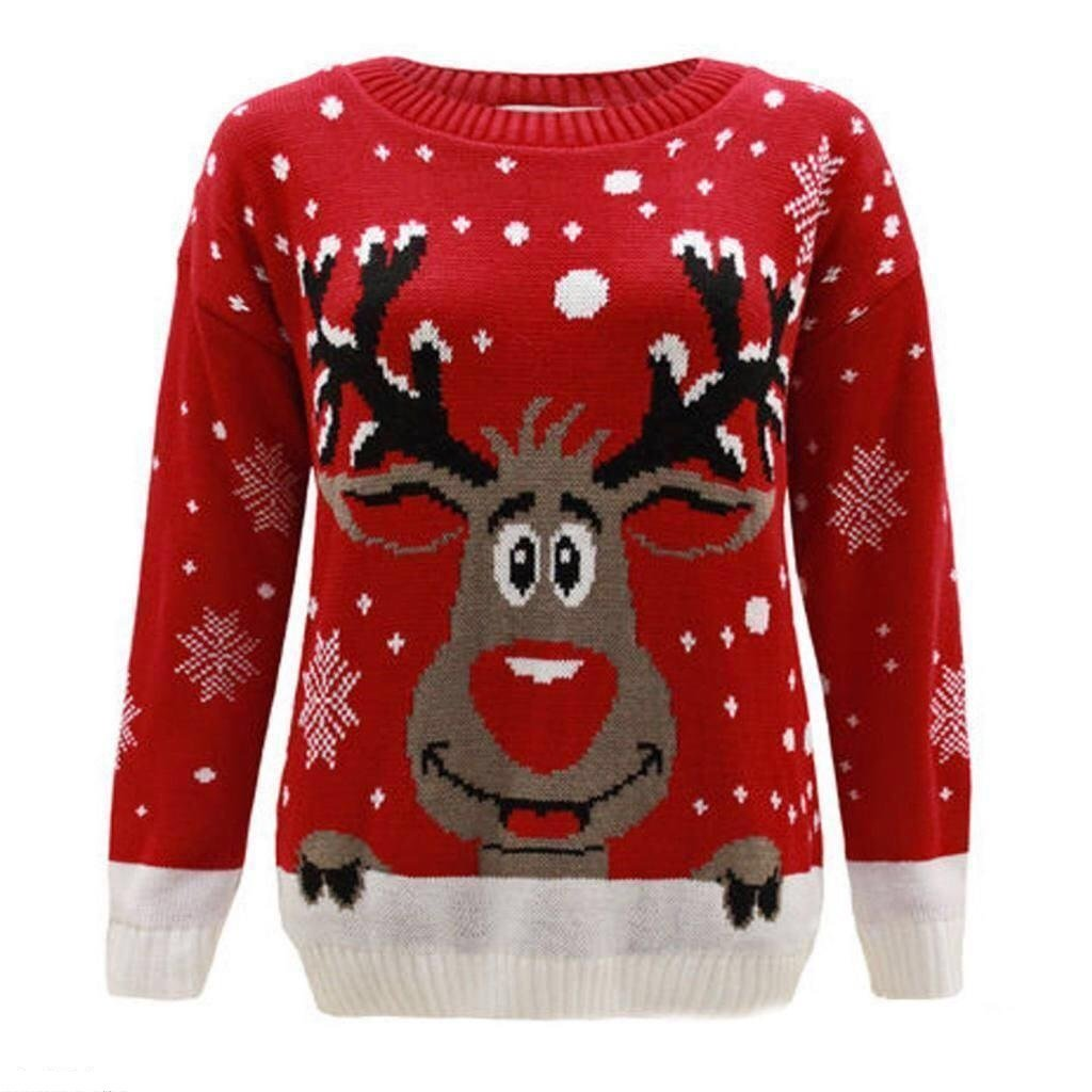 F& F Kids Girls Boys Christmas Red Nose Jumper Unisex Reindeer Print Jumper