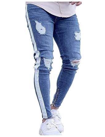 7e0f7ea7274db Jeans Hommes Trous Jeans Destroyed Déchiré Stretch Jeans Mâle Slim Fit  Pantalon Denim Retro  Amazon.fr  Vêtements et accessoires