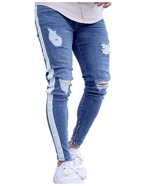 dbaf033fd Lannister Fashion Jeans De Mezclilla para Hombre Jeans De Jeans Skinny  Mezclilla Destruidos Pantalones De Mezclilla para Hombre  Amazon.es  Ropa y  ...