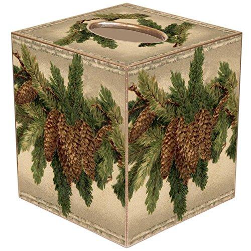 Marye-Kelley TB2609- Christmas Tissue Box Cover Vintage Pine Cones