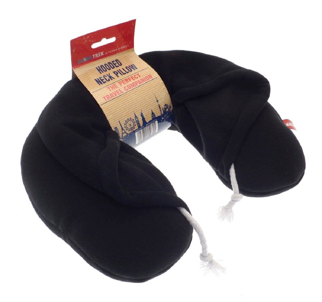 Hooded Neck Travel Pillow with Drawstring Hood ~ Microbead Filled (Black) HWP150722