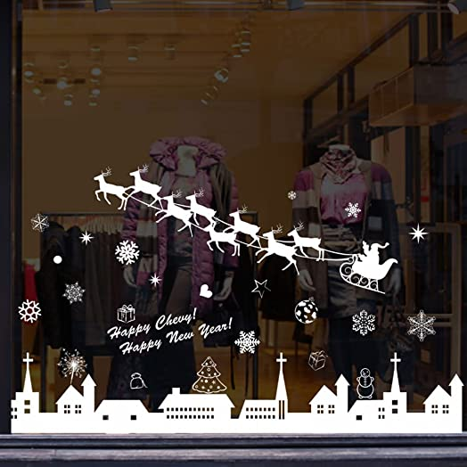 Christmas Window Stickers Reindeer Snowflakes City Wall - Window stickers amazon uk