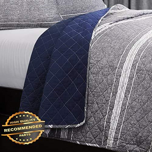 (Werrox 3pc Marlton Stripe Quilt Set King or Queen Grey Grain Sack Farmhouse Reversible Size | Quilt Style QLTR-291268253)