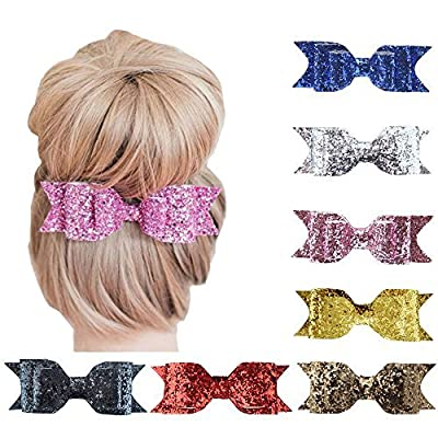 Habbiee 7 Packs Glitter Sequin Big Hair Bows Hair Clips Barrettes Accessory For Girls and Women