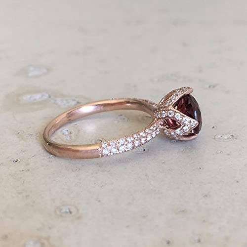 lotus flower garnet engagement ring rose gold garnet promise ring diamond garnet bridal ring - Garnet Wedding Ring