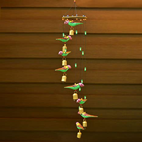 ExclusiveLane Birds Home Decorative Hanging Cum Outdoor Garden Bells Wind Chime (Multicolour, Wood)