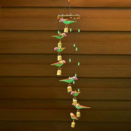 ExclusiveLane Wooden Handpainted & Handmade Decorative Hanging with Birds - Door Hanging Wind Chimes Home Decoration Item