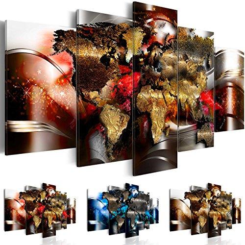 Bilder 200x100 cm - 3 Farben zur Auswahl - XXL Format - Fertig Aufgespannt - TOP - Vlies Leinwand - 5 Teilig - Wand Bild - Kunstdrucke - Wandbild - Weltkarte Abstrakt k-A-0017-b-o 200x100 cm B&D XXL