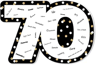 product image for Big Dot of Happiness Adult 70th Birthday - Gold - Guest Book Sign - Birthday Party Guestbook Alternative - Signature Mat