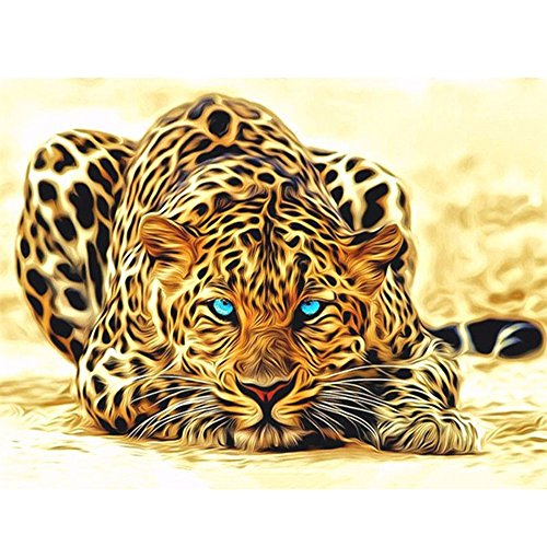 Wenini Clearance! DIY 5D Cute Animals Diamond Painting by Number Kit, Full Drill Crystal Rhinestone Diamond Embroidery Paintings for Home Wall Decor - 25x20cm (Leopard) -