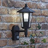 Biard Black Traditional Outdoor Wall Lantern Light with PIR Motion Sensor - E27 F