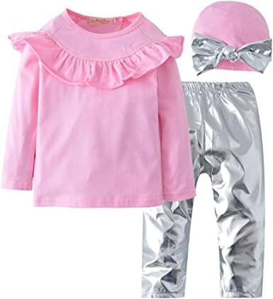 K-youth Ropa Bebe Niña Otoño Invierno Ofertas Infantil Volantes Niña Camisa de Manga Larga Camisetas Blusas + Pantalones de Plata y Bowknot Diadema Conjuntos De Ropa Niña(Rosa, 2-3 años): Amazon.es: Ropa y