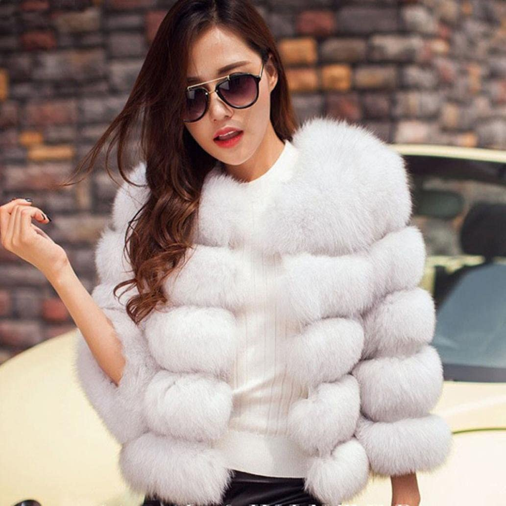 TM HP95 Women Mink Coats Fashion Faux Fur Jacket Warm Thick Outerwear