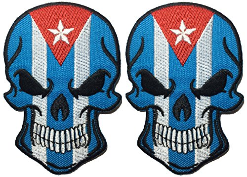 [Set 2 of Cuba Flag Skull Embroidered Sew Iron on Patch] (Diy Aviator Costume)