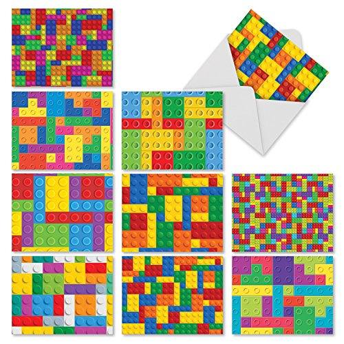 10 Block Letter Thank You Notes with Envelopes (4 x 5.12 Inch) - All Occasion Appreciation Cards with Building Block Pattern, Stationery Notecard Set for Kids, Gratitude 4 x 5.12 inch M2068sl
