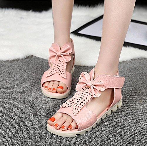 Mode-Fischmund Zehesandelholze Sommer Sandalen und Pantoffeln weibliche Bogen pink