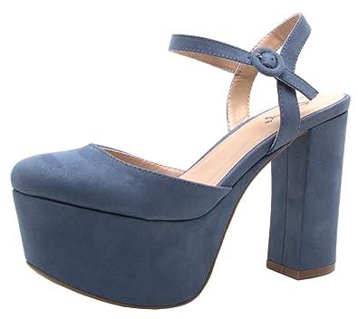 d717cff98b Amazon.com | Qupid Nala-01 Women's Closed Toe Platform Chunky Heel | Pumps