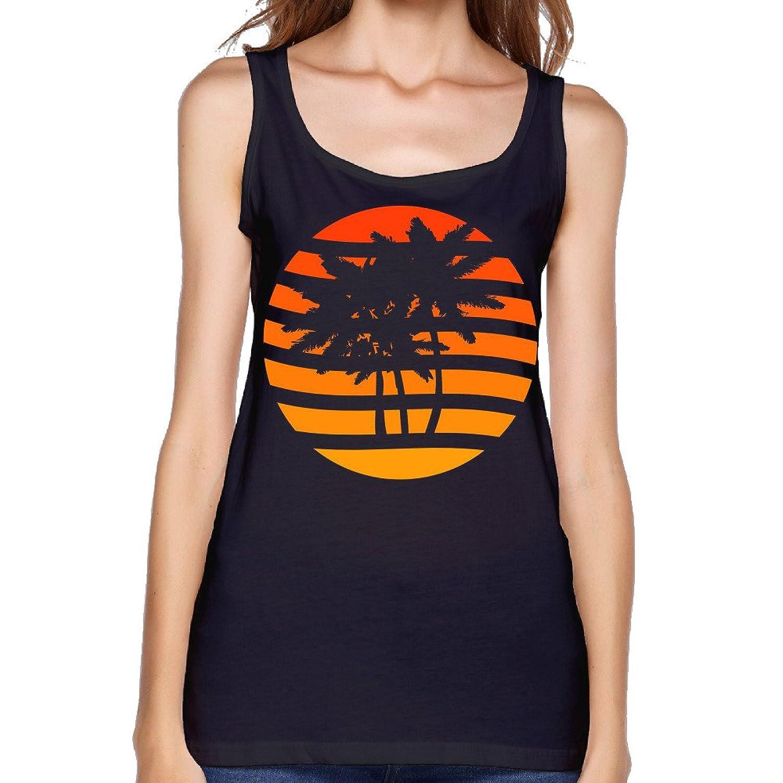 Women's Palm Trees Grunge Sunset Tank Top-