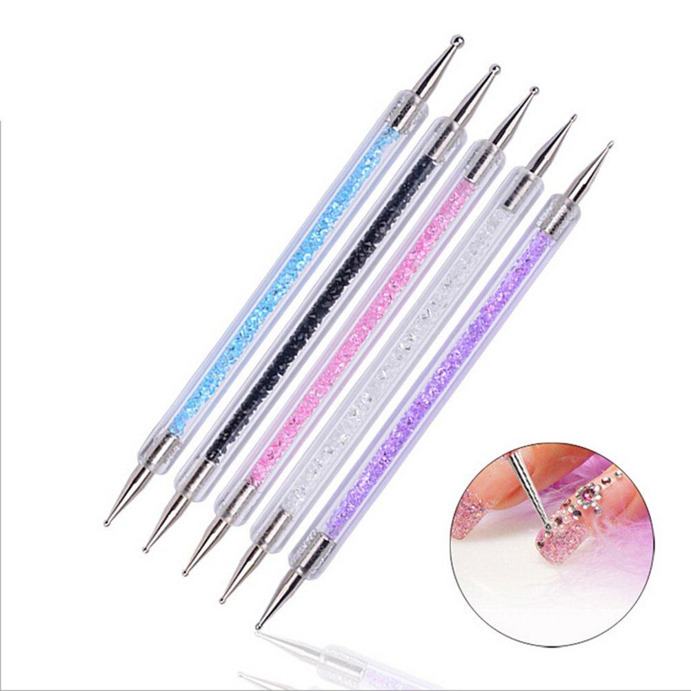 Frcolor Punktierung Stift 5pcs 2 Weg Marbleizing Werkzeug Nail Art Tip Dot Paint Maniküre Set
