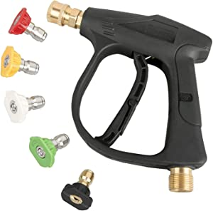 Sooprinse High Pressure Washer Gun,3000 PSI Max with 5 Color Quick Connect Nozzles M22 Hose Connector 3.0 TIP