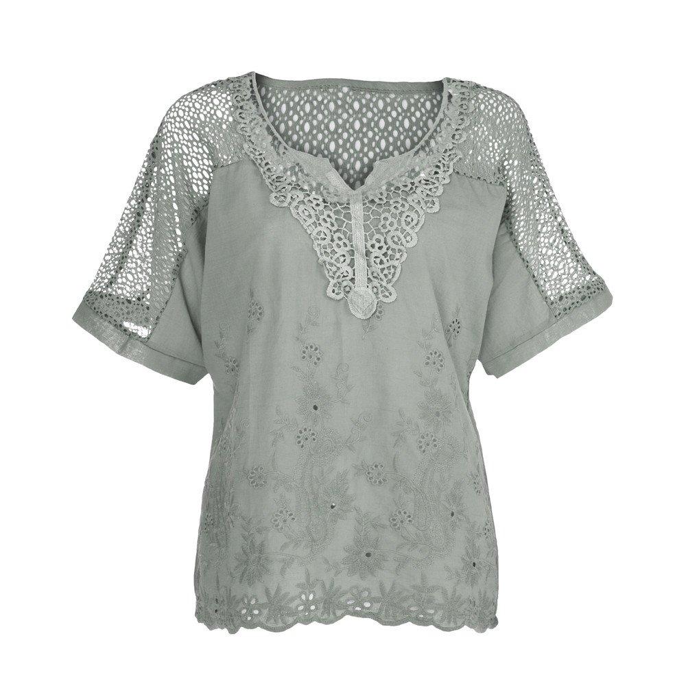 iLOOSKR Cutout Short-Sleeved Shirt! Casual Women's Solid Color Summer T-Shirt Pullover Blouse(Green,XXL)