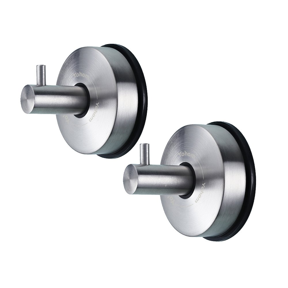 YOHOM 2Pcs SUS 304 Stainless Steel Vacuum Suction Cup Hooks Shower Holder - Removable Bathroom Shower Hook Suction Towel Rack and Kitchen Organizer for Towel Hook, Bathrobe and Loofah,Brushed Finish