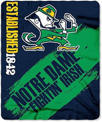 """University of Notre Dame College Team 50/"""" x 60/"""" Fleece Fabric Finished Throw"""