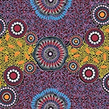 Australian Aboriginal fabric, Meeting Places Black by Josie Cavanagh
