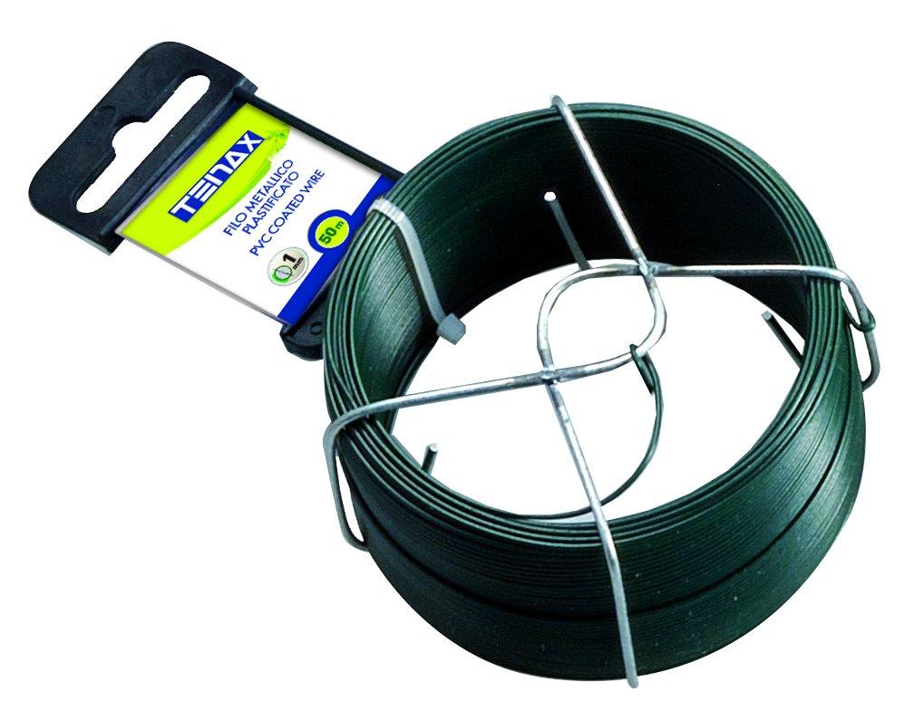Tenax 06812 Fil de Fer Plastifié Vert 50 m Diamètre 1 mm
