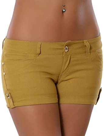 Damen Shorts Hotpants (weitere Farben) No 13776, Farbe:Camel, Größe: