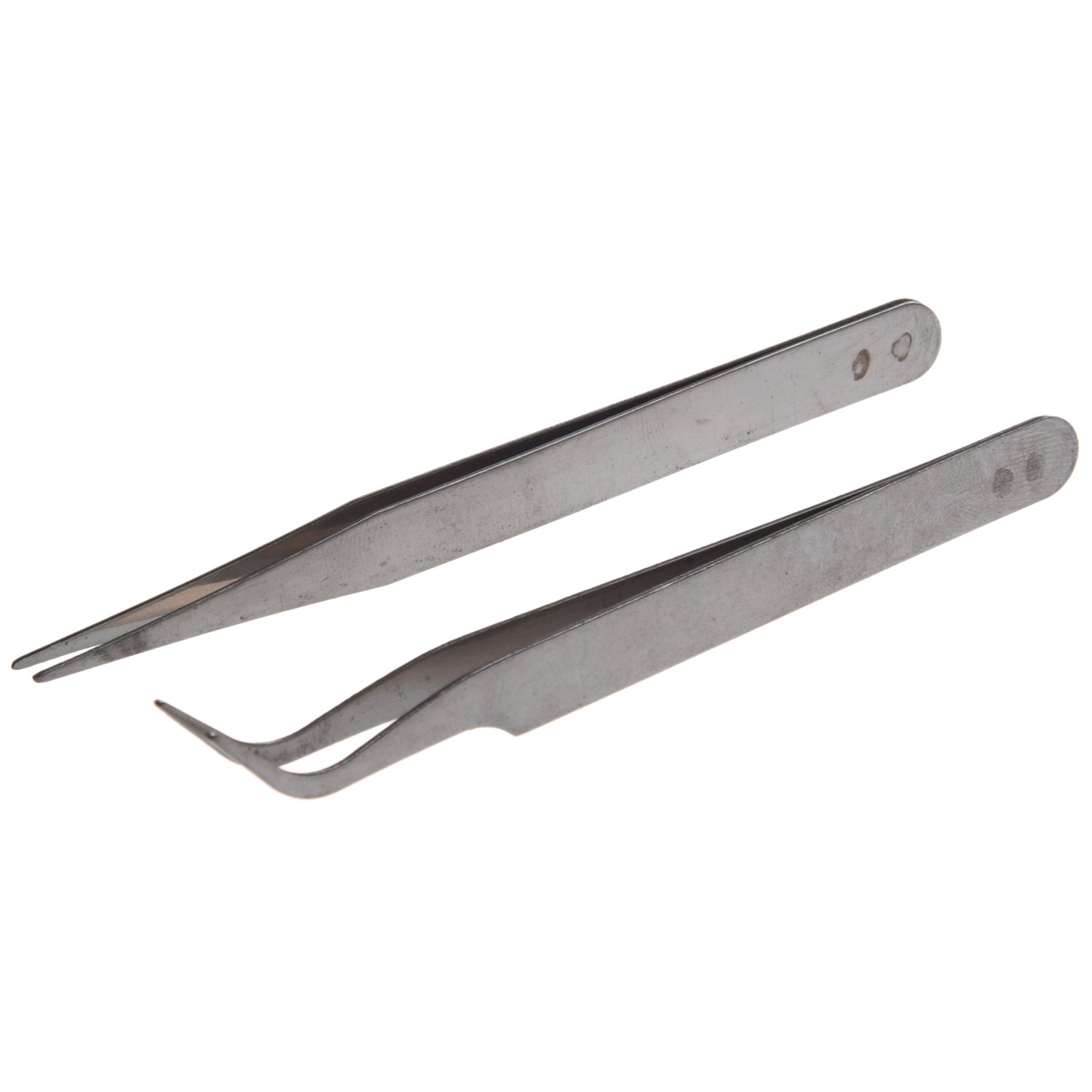 SODIAL(R) 2 X Stainless Steel Nail Art Tweezer Tool Rhinestones Gems Eyelash Nail Art Acrylic Gel Picking Tool