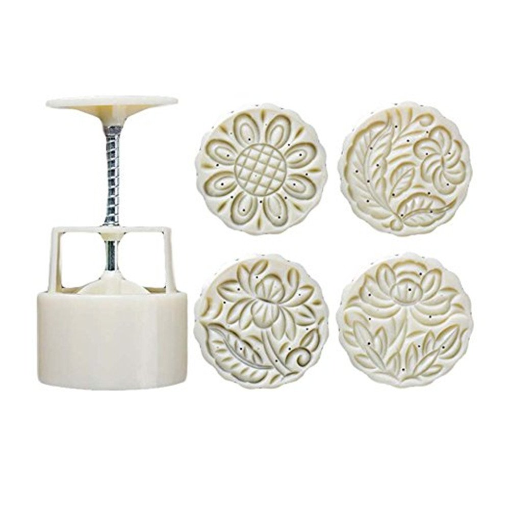 Kangkang@ Moon Cake Mold 4 Cookie Stamps Flower Pattern Cookie Mold Pie Mold 125G