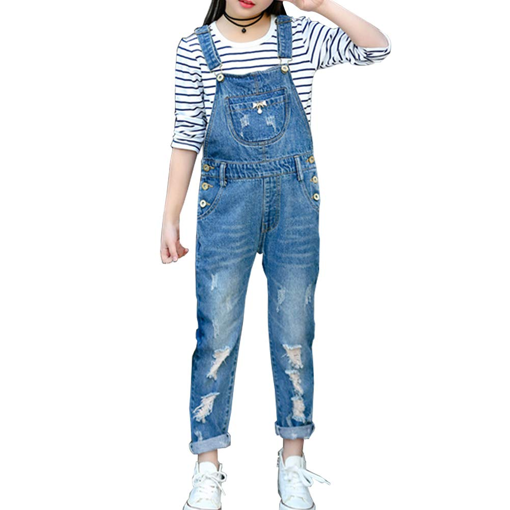 Merryway Girls Big Kids Distressed Denim Overalls Blue Jeans Strecthy Ripped Jeans Romper