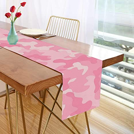 Amazon Com Exnundod Girly Camo Table Runner Farmhouse Style 13 70inch Pink Modern Camouflage Home Kitchen Dresser Scarves For Dinner Parties Wedding Bridal Shower Decorations