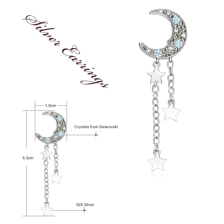 ANAZOZ 925 Sterling Silver Earring Studs Silver Austrian Crystal Moon Star Tassel Stud Earring Vintage