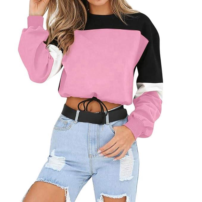 DEELIN Tendencias De La Moda De Las Mujeres Manga Larga Colorblock Sudadera Pullover Sports Sweatshirt