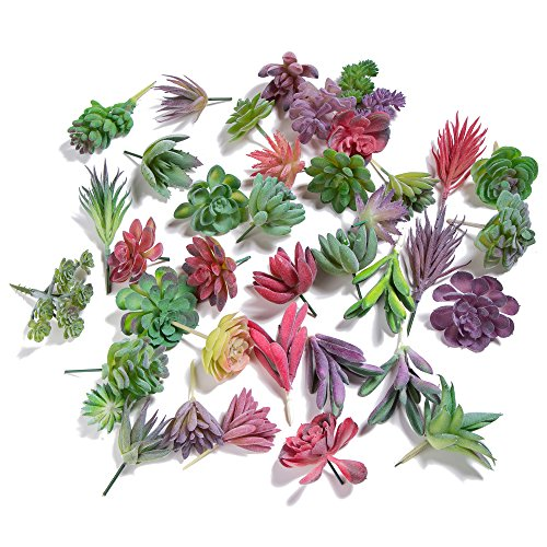 Khalee Artificial Succulent, Fake Mixed Succulents Man-made Plants (12 PCS, Flocked Mixed)]()