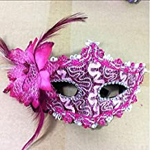 FYUE Lily Flower Crystal Venetian Halloween Masquerade Party Face Masks(Rosy)