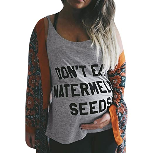 517fa58d7d9eb Drindf Don't EAT Watermelon Seeds, Funny Maternity Sleeveless Tank Tops  Blouse at Amazon Women's Clothing store: