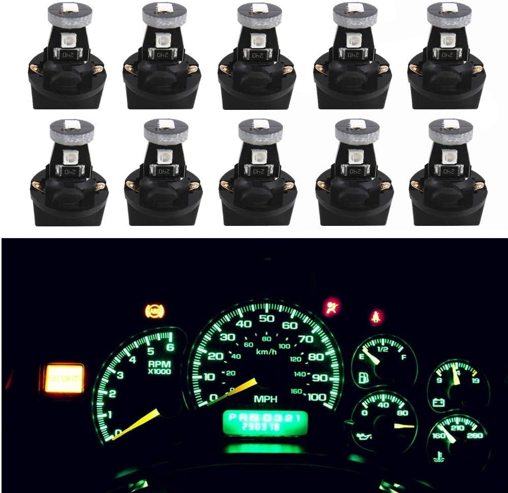 WLJH Verde T10 Led Iluminación Bombillas de interiores salpicadero del automóvil Panel de instrumentos 158 194 168 Bombilla Led con PC194 PC195 PC161 ...