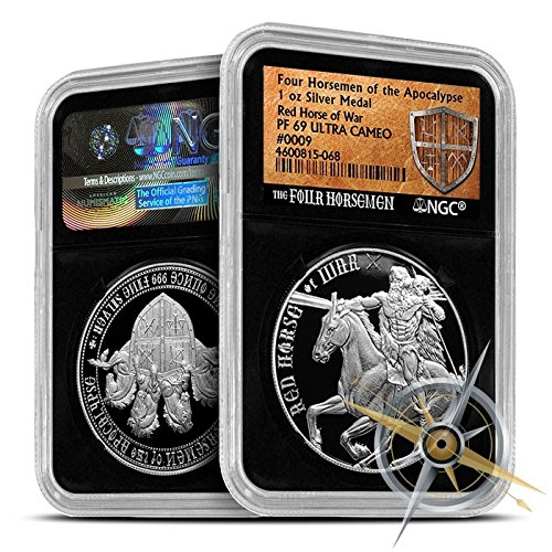 Proof Red Horse of War Silver Round  NGC-PF69