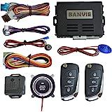 BANVIE ① Car Security Alarm Keyless Entry System + ② Remote Engine Starter + ③ Push to Start Iginition Button