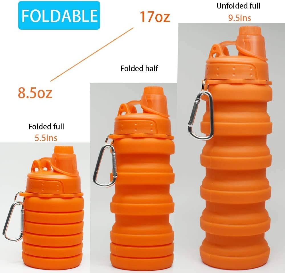 Multi-Function Sports Folding Water Bottle Hiking Retractable Silicone Water Bottle Suitable for Hiking 500ml Outdoor Travel Sports