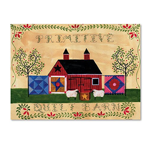 Trademark Fine Art Primitive Quilt Barn Sampler by Cheryl Bartley, 14x19-Inch Canvas Wall Art ()