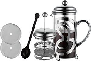 Miuly French Press Coffee Maker,304 Grade Stainless Steel & Heat Resistant Borosilicate Glass, (1 Liter,34OZ), Gift Set with Coffee Measuring Spoon & Two Filter Screens