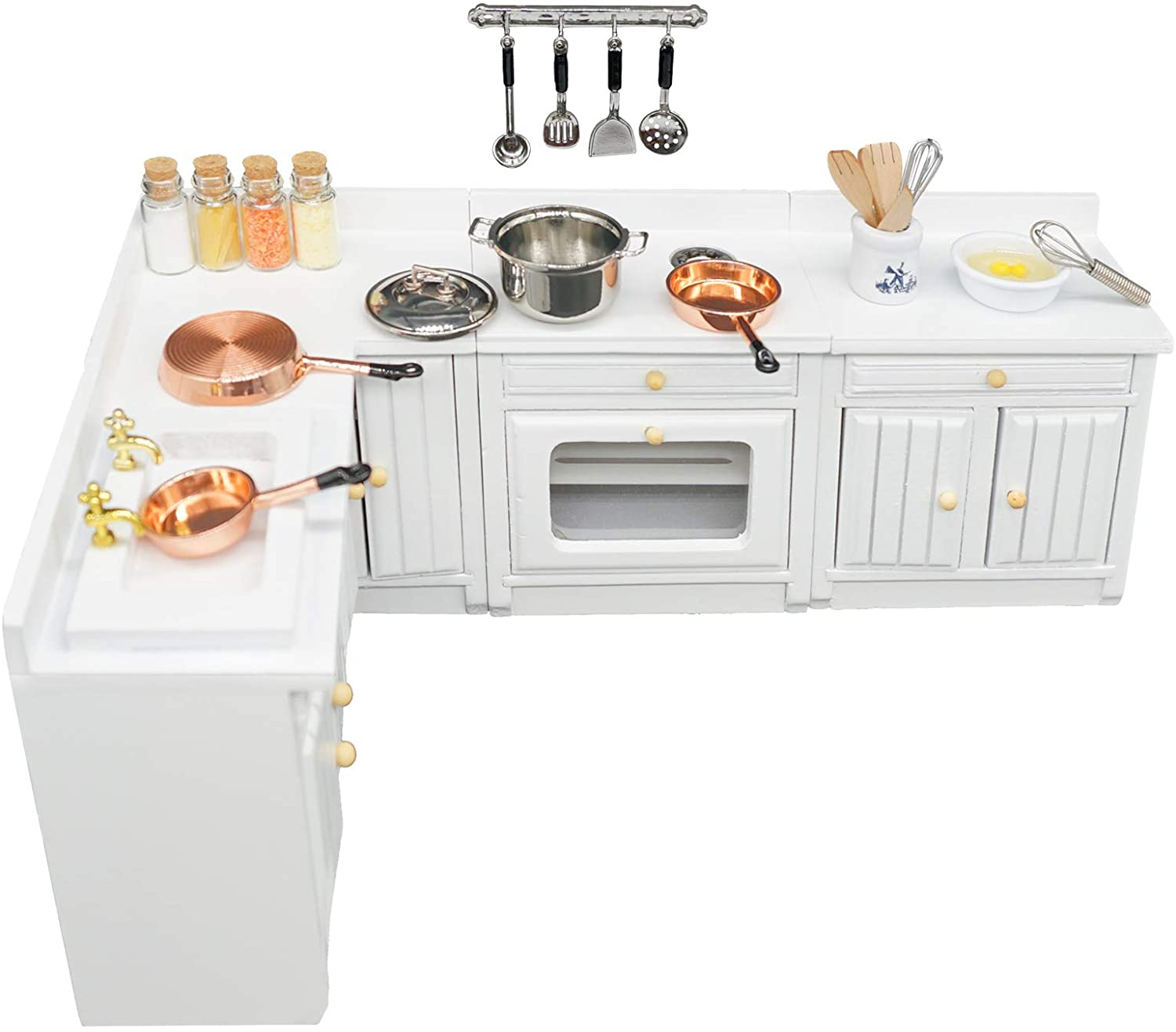 SAMCAMI Miniature Dollhouse Furniture Kitchen Set (24 Pieces) - Freely Combined Wooden Kitchen Cabinets and Other Dollhouse Accessories - 1 12 Scale Dollhouse Furniture (White)