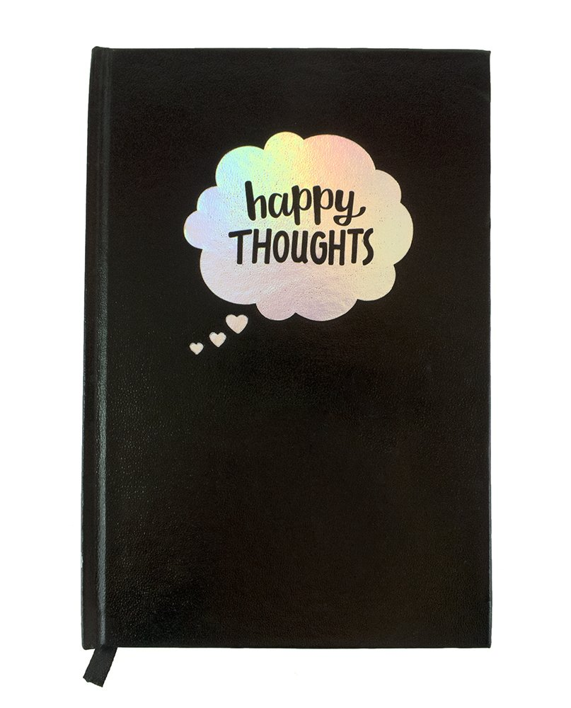 Journal Notebook Holographic Cute Happy Thoughts Black Hardcover Book with Holographic Edge - iHasCupquake