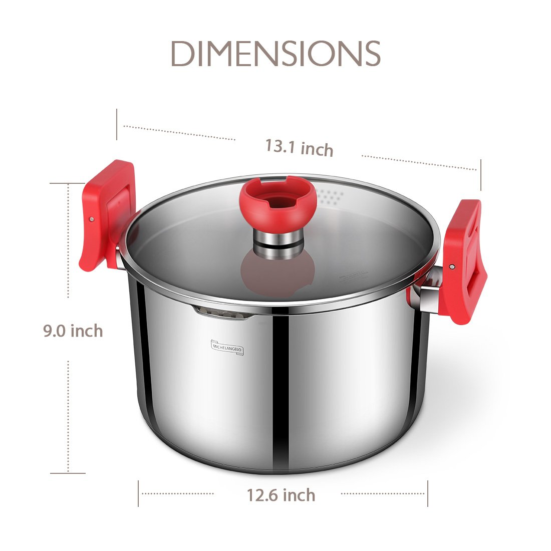 MICHELANGELO 5 Quart Pasta Pot Induction Ready, Stainless Steel Pasta Pot With Strainer Lid, Stainless Steel Dutch Oven Pot, 5 Quart Soup Pots with Lids by MICHELANGELO (Image #8)