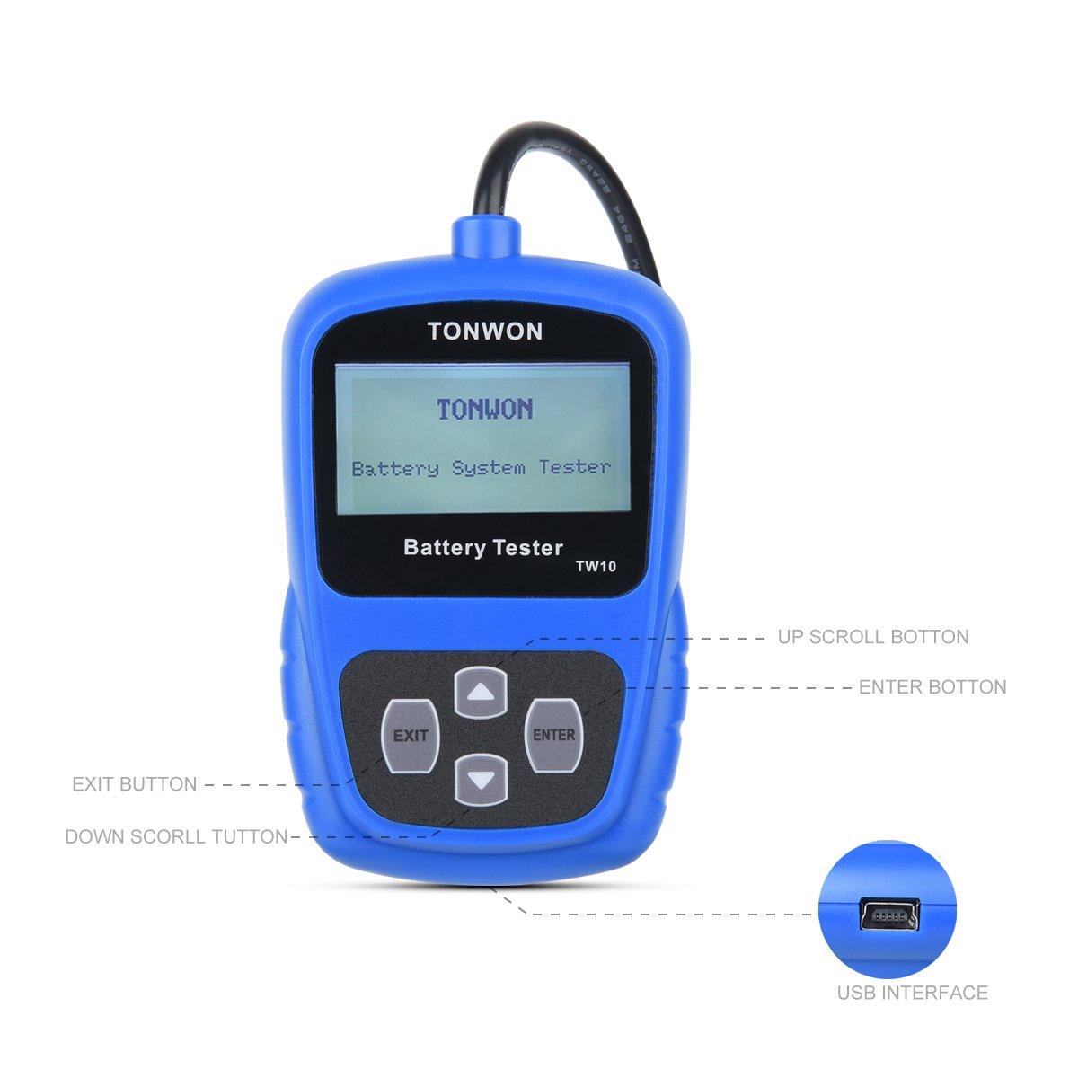 Testeur de Batterie TONWON 12V Bluetooth Automobile Charge Testeur de Batterie Analyseur Num/érique Mal Pile Outil de Test