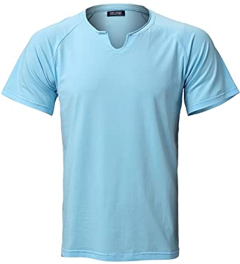 8c8f063d6836 Harrms Short Sleeve T-Shirts Strecthy Casual Cotton Shirts for Men Light  Blue Size M